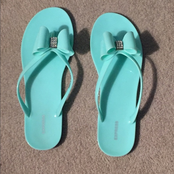 de96f980e1e6c0 Express Shoes - Jeweled Jelly Bow Flip Flops