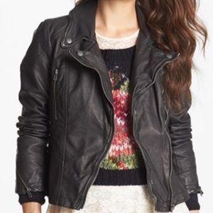 Free People Jackets & Blazers - Free People Distressed Faux Leather Moto Jacket