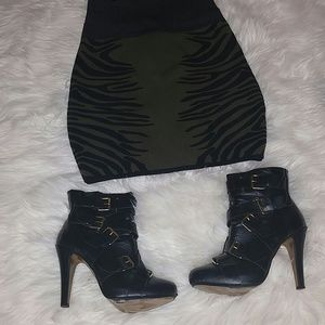Shoes - Black buckle ankle boots