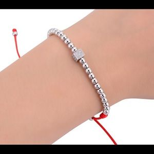 Jewelry - Red String Bracelet with Silver Plated CZ Cube