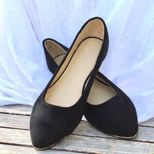 NEW Black Suede Gold Pointed Toe Flats