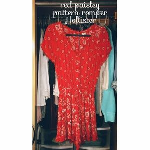 Red paisley pattern romper