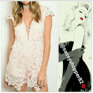 "Pants - 🆕""VICTORIA"" Lovely lace Blush pink romper"