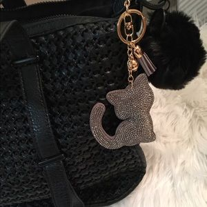 NWT Rhinestone Tassel Cat Charm / Keychain