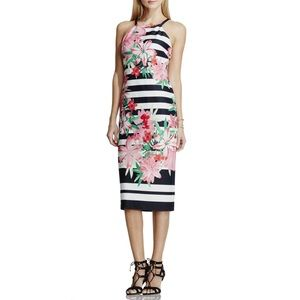 Vince Camuto Dresses & Skirts - Vince Camuto stripes and lilies fitted midi dress