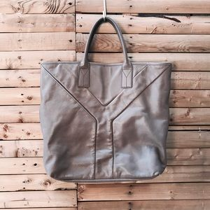 "YSL Light Grey Leather ""Hamptons"" Tote"