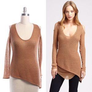 Helmut Lang Sweaters - Helmut Lang Brown Paper Wool Asymmetrical Top
