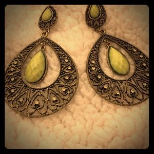 Earrings in a light lime green
