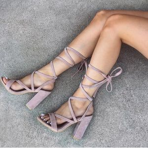 Dusty Pink Suede Lace Up Heels