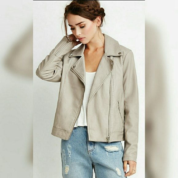 Forever 21 Jackets & Blazers - Taupe faux leather jacket