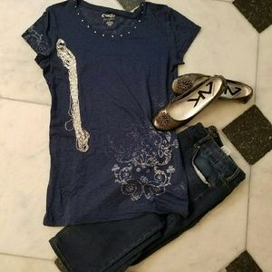 Roper Tops - Blue bling tee, decorated, by Roper