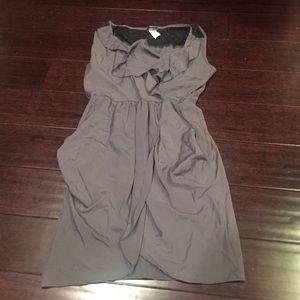 Dresses & Skirts - Grey wrap ruffle dress lace sz L