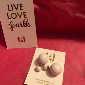 T&J Designs WHITE double stud earrings