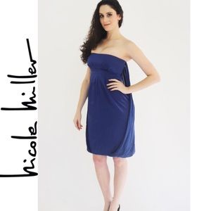 NICOLE MILLER Blue Draped Dress