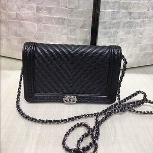 RAREEEE!!! Chanel Black Chevron Braided WOC