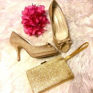 Caparros Shoes - Gold Flash Bundle (glitter pumps and wristlet)