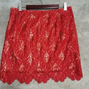 Dresses & Skirts - Gorgeous embroidered red skirt with sequins