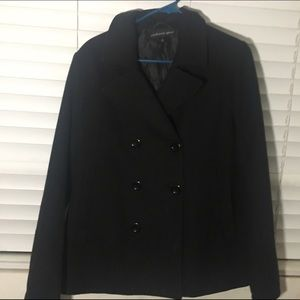 Black wool double breasted coat.