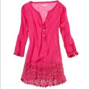 aerie Other - New aerie crocheted cover up tunic top button xs