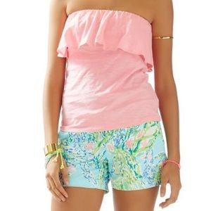 Lilly Pulitzer Tops - Lilly Pulitzer pink Wiley ruffle tube top large l