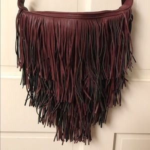 NEW faux leather fringe cross body bag