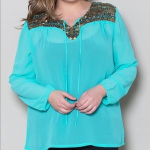 SWAK Tops - Sequined and Beaded Chiffon Top