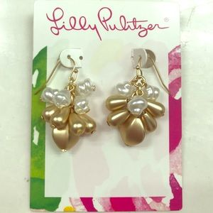 Lilly Pulitzer Metallic Gold and Pearl Earrings