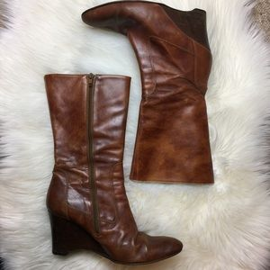 Vintage J Crew leather wedge heeled boots
