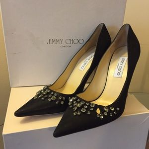Jimmy Choo Shoes - Jimmy Choo Black Jeweled Pumps