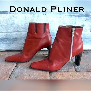 Donald J. Pliner Shoes - Red leather ankle heel bootie!  Gorgeous!
