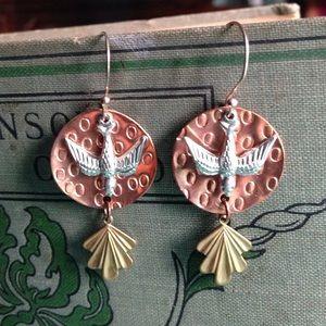 Upcycled Copper Brass Birds Earrings Dangle Boho
