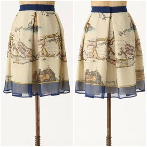 Anthropologie Map of the World Skirt by Anna Sui