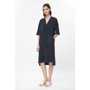 COS Dresses & Skirts - COS V-Neck Button Front Silk Dress, Washed Black