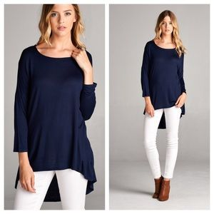 Tops - Navy high low tunic