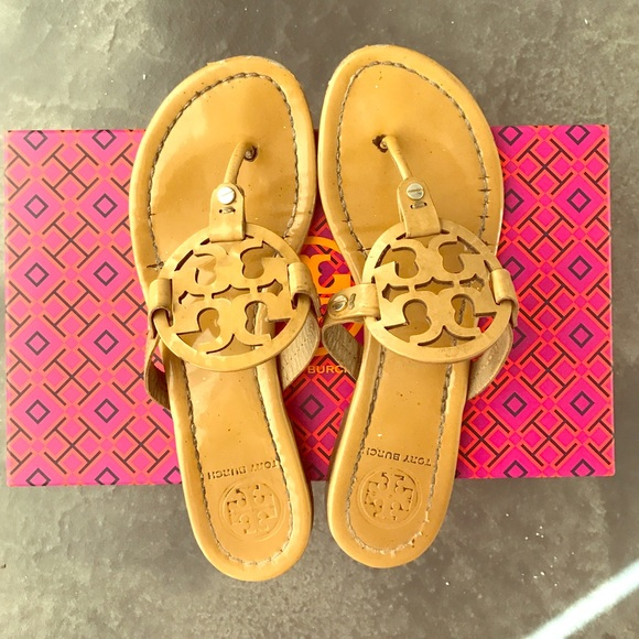 5d45800ead8 Tory Burch Miller Sandals Sand Patent Size 8. M 58765eaaa88e7de7c9008d9c