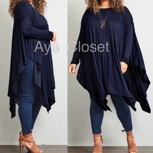 Tops - Plus size oversized loose fit shark bite top tunic