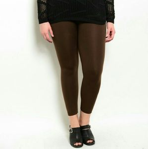 Pants - PLUS SIZE Chocolate brown fleeced lined leggings