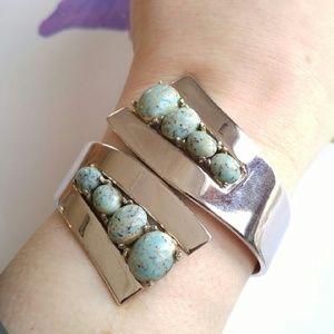 Vintage Jewelry - Vintage retro space age bracelet silver tone glass