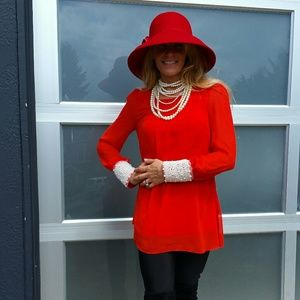 Tops - Goregous Red top with beaded cuff details