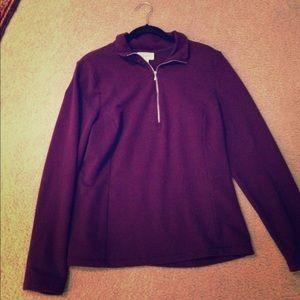 TALBOTS quarter zip princess seamed purple top