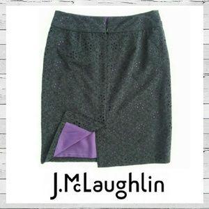 J. McLaughlin Dresses & Skirts - J. McLaughlin Black Eyelet Overlay Pencil Skirt