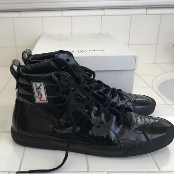 Leather Rolling Sneaker Black Patent Ysl kTuPiwOXZ