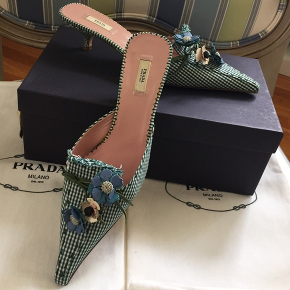 Prada Gingham Floral Mules free shipping limited edition 0pmLTv22