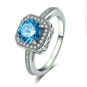 Jewelry - NEW LISTING! SS Faux Blue Topaz and Diamond