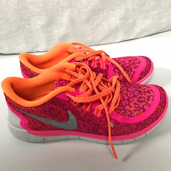 Nike Free 5.0 Hot Pink and Orange Running Shoes. M 587671864127d0aa13019fd1 8625c24ba6fc