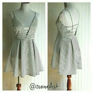 Low Cut Black & White Stripe Mini Dress