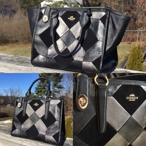 Coach black leather patchwork tote