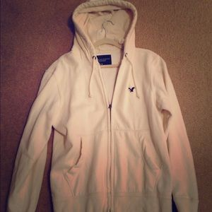 AMERICAN EAGLE OUTFITTERS cream zip front hoodie
