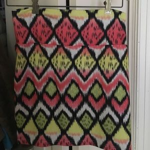 Colorful Print Pencil Skirt
