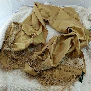 Lauren Ralph Lauren Accessories - Lauren Ralf Lauren 100% silk gold fringe scarf